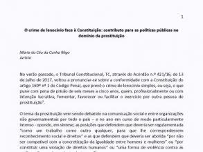 O crime de lenocínio face à Constituição: contributo para as políticas públicas no domínio da prostituição